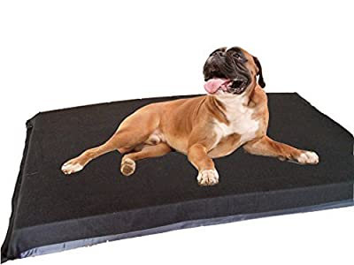KosiPet® Extra Large Deluxe High Density Foam Mattress Waterproof Dog Bed Beds Plain Black Fleece