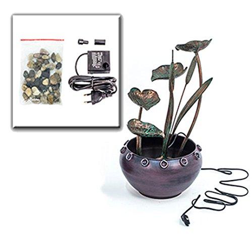 Zimmerbrunnen Metall Topf Pflanzen - Kupfer Blumen Brunnen Design Feng Shui von Haus der Herzen ®