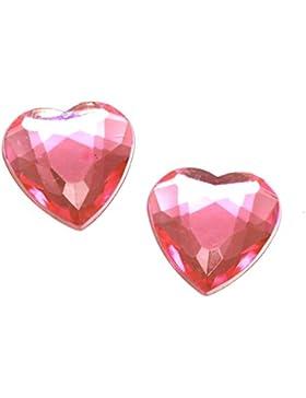 Idin Ohrclips - facettierte Herzen aus Acryl in pink (16 x 16 mm)