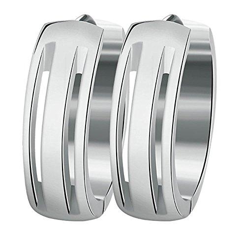 Onefeart Edelstahl Ohrringe für Damen Mädchen Hohl Creolen Hochpoliert 6x20MM Silber