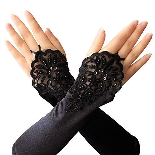3 Paar lange Opernparty der 1920er Jahre Satin Handschuhe dehnbar Erwachsene Größe Ellenbogen Länge 13