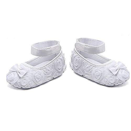 Infant neonate pattini svegli piegano il vestito principessa shoes pu soft scarpe con rosa di seta flower and bow - si adatta 6-12 mesi ragazze (bianco)