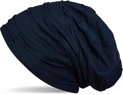 styleBREAKER klassische Beanie Mütze mit Falten Muster, Longbeanie, Unisex 04024053, Farbe:Dunkelblau (One Size)