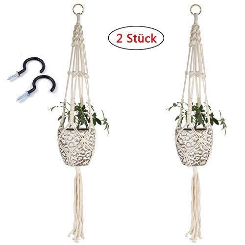 Funyu 2 Stück Makramee Blumenampel Baumwolle Pflanzenhänger mit Haken Handgemacht Pflanzen Aufhänger für den Innen und Außenbereich für Decken und Balkone 85cm 4 Beine