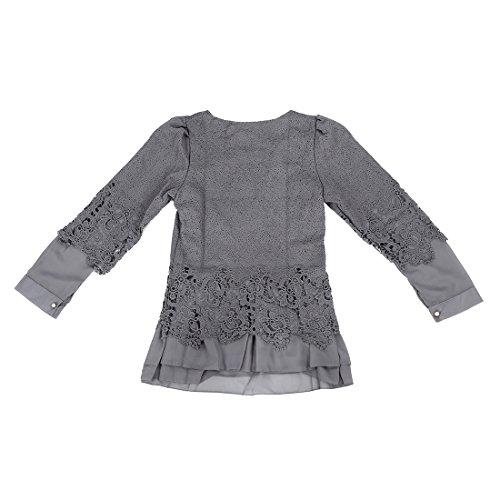 SODIAL(R) Automne Nouveau Hot Chemisier de Femmes Noir Ajoure Crochet epissage Dentelle a Col Rond En Mousseline de Soie Chemise XL Gris