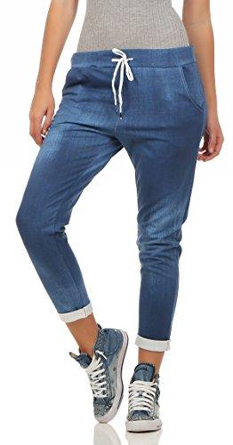 244 Damen Hose Freizeit Stoffhose elegante Boyfriendhose gemusterte Baumwollhose in Jeans Print Optik S M L Blau (Jeans-print-stoff)