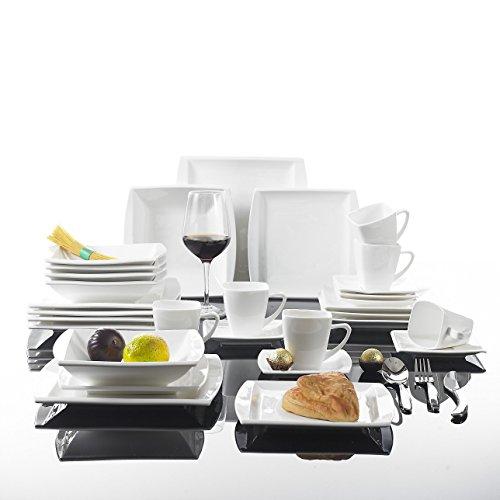 Malacasa - Set di piatti in ceramica serie Blance, 30 pezzi, set combinato con: 6 tazze, piattini, piatti per il dolce, piatti fondi e piatti piani, colore: bianco/ panna