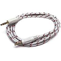C63® [1metro Cavo audio 3,5mm placcato oro Jack a Jack AUX tessuto intrecciato bianco]. Qualità Premium, Stereo cavo audio maschio a maschio.