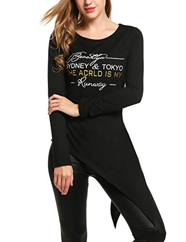 Beyove Damen Longshirt Lange Ärmel Lose Unregelmäßig Oberteil Stoff T-Shirt Pullover Tunika Tops Casua Bluse Locker Jersey Langarmshirt Sommer (B Schwarz, EU 42(Herstellergröße:XL)) - Jersey Lange Ärmel Pullover