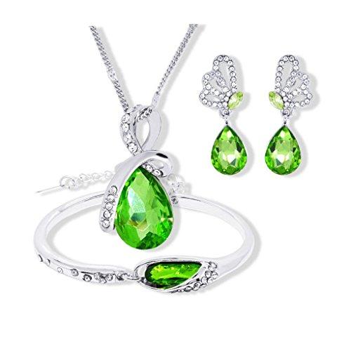 Hosaire 1 Satz von Damen Halskette+Ohrringe+Armbänder Schmuck Set Mode Tropfenform Kristall Deko Anhänger Jewelry Set (Grün) (Internationale Dame Satz)