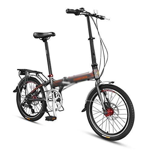 Faltbare Fahrrad Tragbare 20-Zoll-Fahrrad Student Bikes Mädchen Fahrrad Rennrad 7-Gang (Color : Gray, Size : 20 inches)