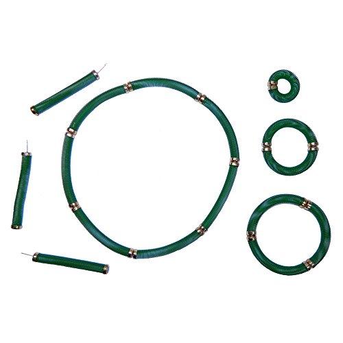 Retro Schmuck grün 12 Steckfedern Ohrring Ring Armband Halskette ()