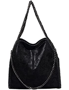 Damen PU Shopper Beuteltasche mit Kette lässigen Kette Tragetasche Schultertaschen Frauen Tote Bag