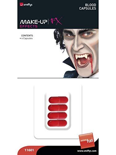 Herren 4 Kunstblut-Kapseln Fake Blood, Kostüm Accessoires Zubehör, perfekt für Halloween Karneval und Fasching, Rot ()