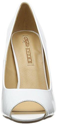Buffalo 314669 Patent Pu, Escarpins Bout ouvert femme Blanc - Blanc