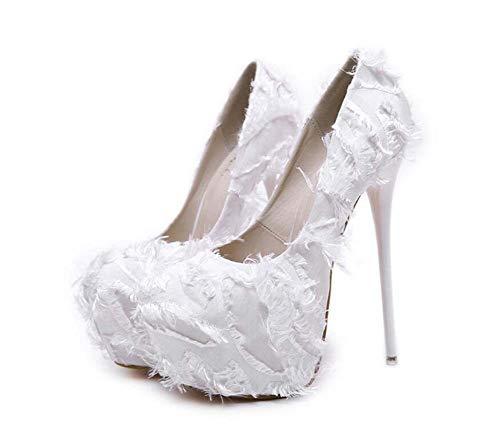 Mamrar Frauen Pumpen High Heels 16Cm Stiletto 6Cm Plattform Federkleid Schuhe Hochzeitsschuhe EU-Größe 34-40,White,34EU -