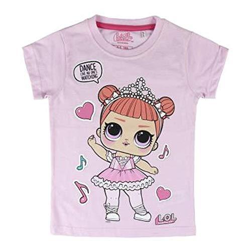 L.O.L. Surprise ! Mädchen T-Shirt Mit LOL Dolls Rocker, BFF Fancy & Fresh, Diva, M.c Swag, It Baby, Leading Baby | Kinder Baumwoll Sommer Top (4/5 Jahre, Fancy) - Mädchen Glitzer T-shirt