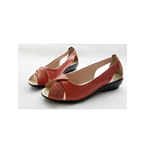 OCHENTA Femme Ballerines Plates Dame Tête de Poisson Sandales Ete Confortable Orange