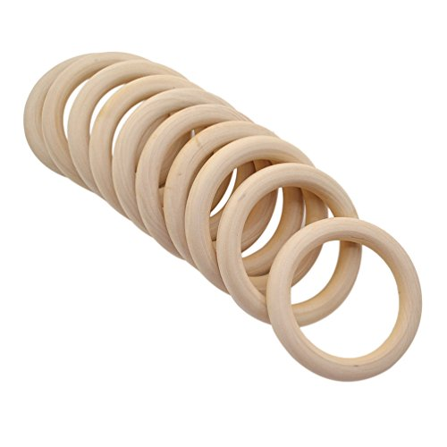 YNuth 10pcs Anneaux Perles Cercles En Bois Couleur Naturelle Anneaux De Dentition DIY Craft Accessoire (70mm)