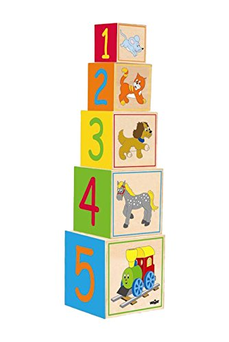 Woodyland 15 x 54 cm didáctico juguetes de apilamiento y la jerarquización de bloques de imagen - Feliz motor (5 piezas)