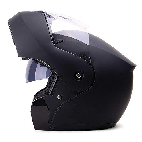Casco integrale per casco nero da moto casco protettivo anti-fog doppio estivo per uomo sicuro e rispettoso dell'ambiente