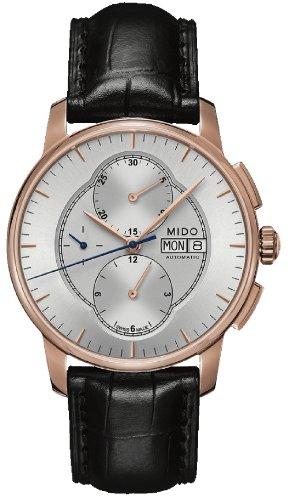 MIDO MEN'S BARONCELLI II 42MM BLACK LEATHER BAND AUTOMATIC WATCH M8607.3.10.4