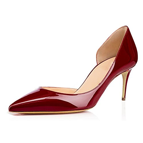 ELASHE Damenschuhe Kitten Heels Pumps | Spitze Stiletto Low Heels 65mm | Lackleder Cut-Out Pumps Rot EU36 (Low Heel Lackleder)