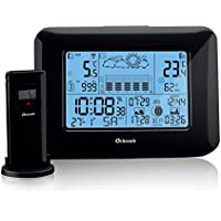 Oritronic Digital Weather Station with Outdoor Indoor Sensor, Radio-Controlled Alarm Clock, Barometer, Temperature, Humidity Monitor, Weather Forecast Station for Home,Black