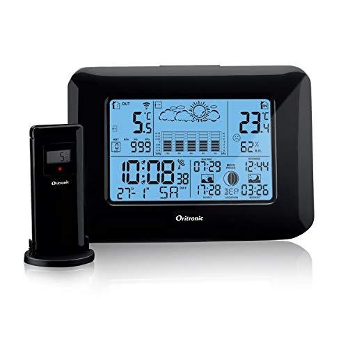 Oritronic Wetterstation Funk mit Außensensor, Wetterstationen innen und außentemperatur Funk mit wettervorhersage, digital Hygrometer für Innen, betrieben Uhr mit Thermometer(schwarz)