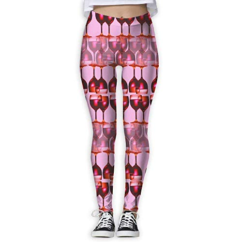 Deglogse Pantaloni da Yoga, Leggings da Allenamento,Wine Glasses Women's Slim Yoga Pants