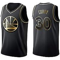 Camiseta de Baloncesto para Hombre y Unisex: Camiseta Stephen Curry Retro No. 30 Golden State Warriors, Camiseta sin Mangas clásica (edición Dorada)-Black-L