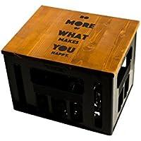 Geschenkidee Geburtstagsgeschenk Bierkastensitz Bierkistensitz Sitzauflage Bierkiste Bierkasten Sitz Hocker Holz Handmade Hipster mit Motiv DO MORE