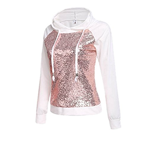 YiLianDa Donne Autunno Mode Paillettes Maniche Felpe Con Cappuccio Sweatshirt Bianco
