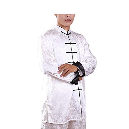 KIKIGOAL Unisex Tai Chi Anzug Kung Fu Kampfsport Uniformen Für Damen und Herren Seide und Baumwolle Chinoiserie (Weiß-Schwarz, M)