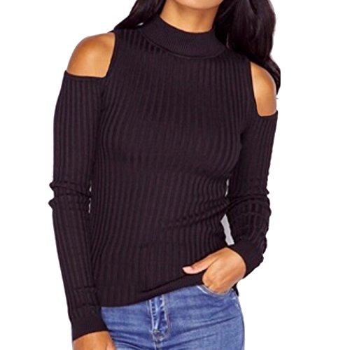 Vor Schulterzucken (Stylische Elegant Damen Enge Pullover Frauen Einfarbig Lange Ärmel Trägerlos Sweater Strickpullover Tops (S, Schwarz))