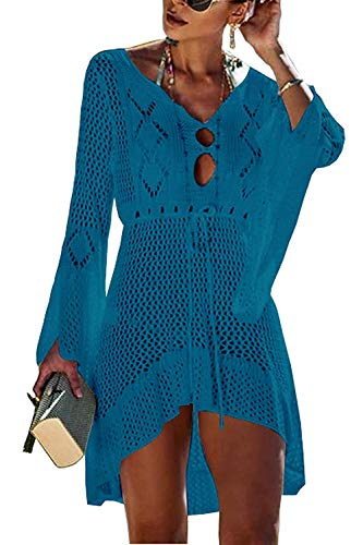 Paréo Femme Plage Mini Robes Tunique Pull Bikini Cover Up Crochet Col V Sarong Beachwear Cover Up (Bleu-2)