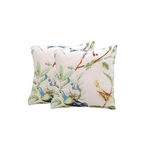 ENZER Sofa Bezug 1 2 3 4-Sitzer-Bettüberwurf Sessel Blumen Vogel Easy Stretch Elastischer Stoff Sofa Couch Cover Protector ,2 x Kissenbezug (kein inneres),Elster