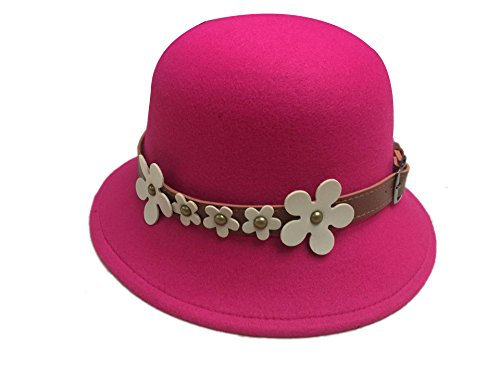 ACVIP Femme Chapeau Melon Casquette Cloche Style Fedora Trilby Feutre Charmant Elégant avec Bandeau Fleur Rose Rouge