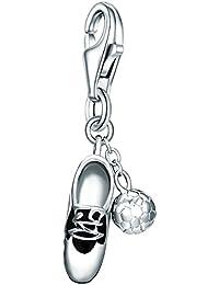 Rafaela Donata Charm Collection Damen-Charm Fußballschuh 925 Sterling Silber Emaille schwarz / weiß  60602105