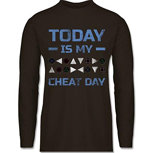 Shirtracer Nerds & Geeks - Today is My Cheat Day - Herren Langarmshirt Braun