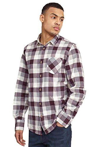 Brave Soul - Herren-Hemd, kariert, langärmelig Gr. Medium, Wine/ Grey/ White (Mens Flannel Jacket Hooded)