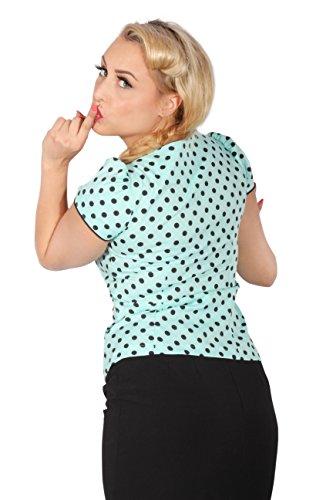 vintage POLKA DOTS Rockabilly Puffärmel kurzarm Punkte retro Bluse mint -