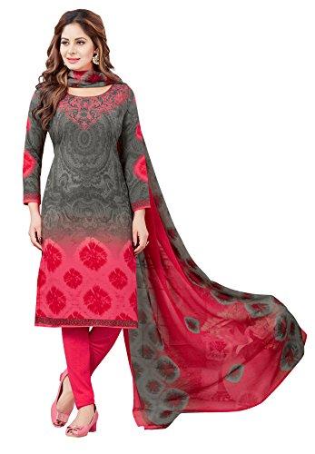 Salwar Studio Women\'s Grey & Pink Synthetic Printed Dress Material with Dupatta-MONSOON-2169