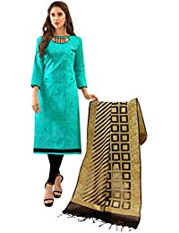 Women'S Sky Blue Semi Stitched Embroidered Glaze Cotton Dress Material