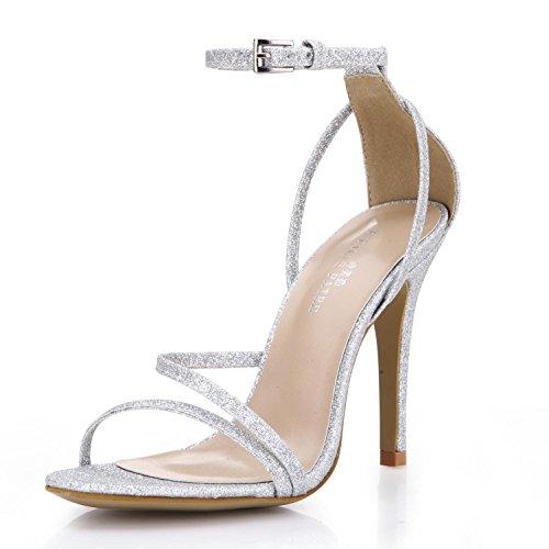 Best 4U Damen Sommer Sandalen Glitter Basic Pumps eine Schnalle Reißverschluss 14cm High Heels Hochzeit Schuhe Silber Gold , Silver , EU39