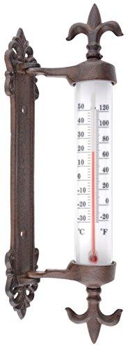 Esschert Design Fensterrahmenthermometer Gusseisen, braun, 5.5 x 9.4 x 29.5, TH84