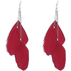Vovotrade Los pendientes de gota largos de la pluma de Bohemia de la vendimia hecha a mano (rojo)