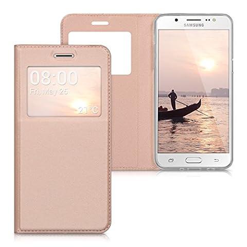 kwmobile Hülle für Samsung Galaxy J5 (2016) DUOS - Bookstyle Case Handy Schutzhülle Kunstleder mit Sichtfenster - Flipcover Klapphülle (Duo Handys)