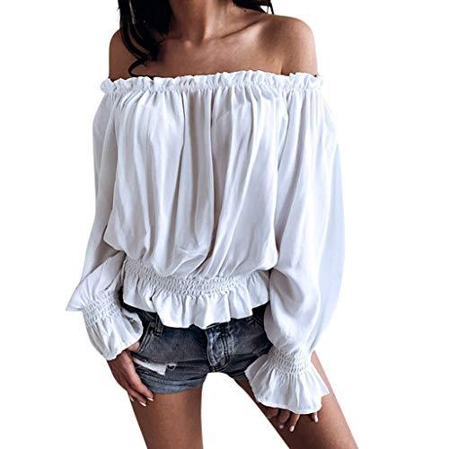 Alaso - Camicia Sexy da Donna, a Maniche Lunghe, Scollo a Barca, Camicia con Spalle Scoperte Elegante Chic Casual Bianco L