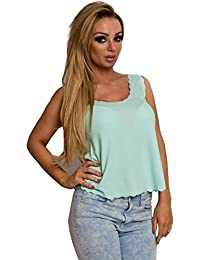 Women's Ladies Scalloped Glam Casual Stunning Summer Top Vest